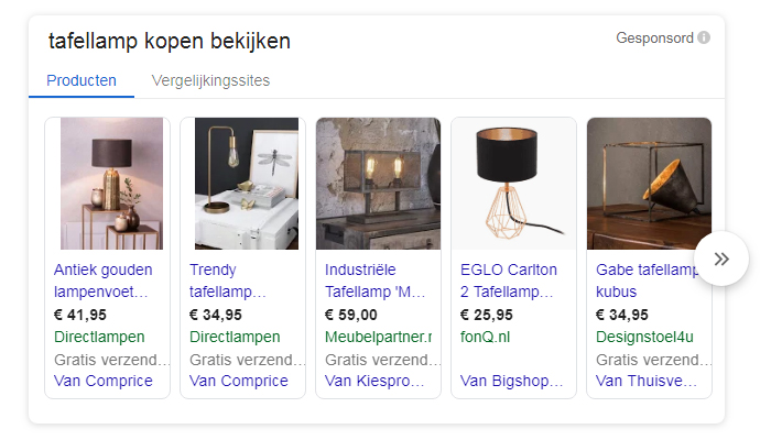 google shopping instellen